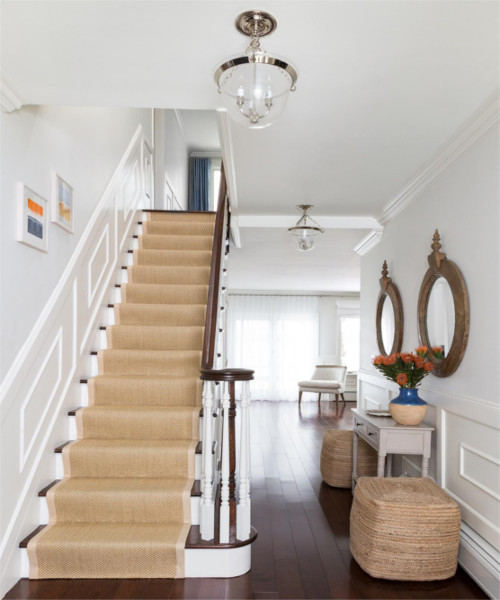 Stair-runner design ideas white and blue accent
