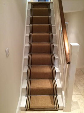 Jute Stair Carpet Runner natural and Bleached Stripes
