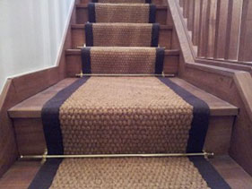 Stair runner natural and black stripe