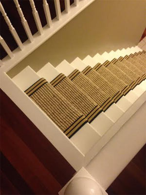 Wool Hemp Stair Runner Fitted into a Straight Staircase